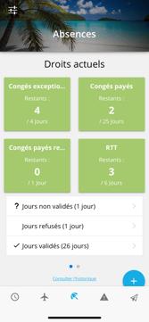 Application ERP Akuiteo : gestion des absences sur smartphone