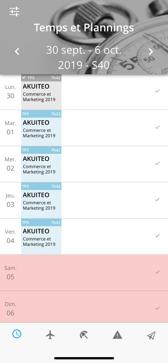 Application ERP Akuiteo : temps et plannings sur smartphone