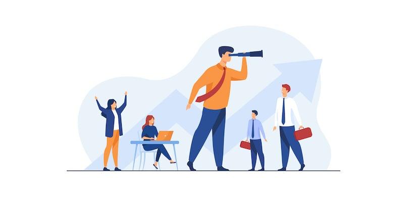 Les meilleurs conseils en pilotage d'entreprise : illustration, homme avec longue vue