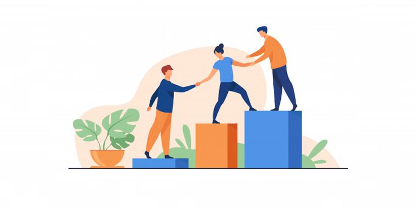 Gestion des collaborateurs : les 3 clés de la réussite illustrées avec 3 personnes sur un podium
