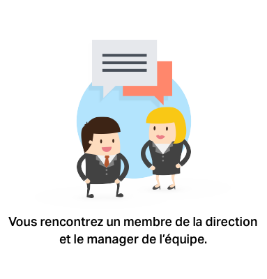 Vous rencontrez un membre de la direction et le manager de l'équipe.